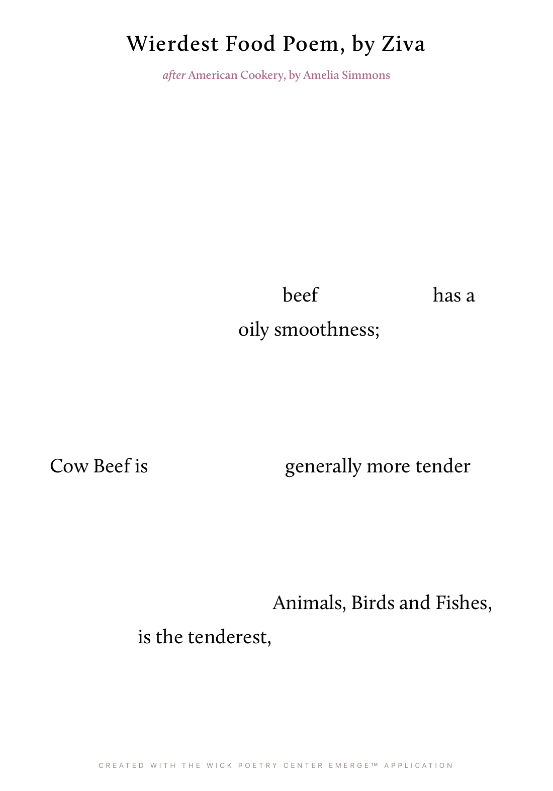Wierdest Food Poem