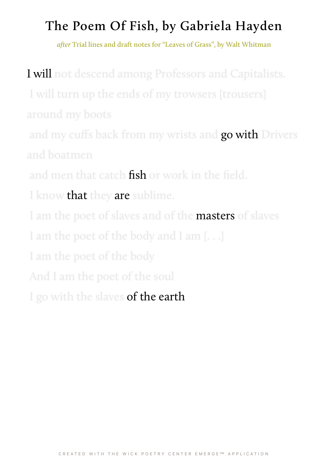 The Poem Of Fish
