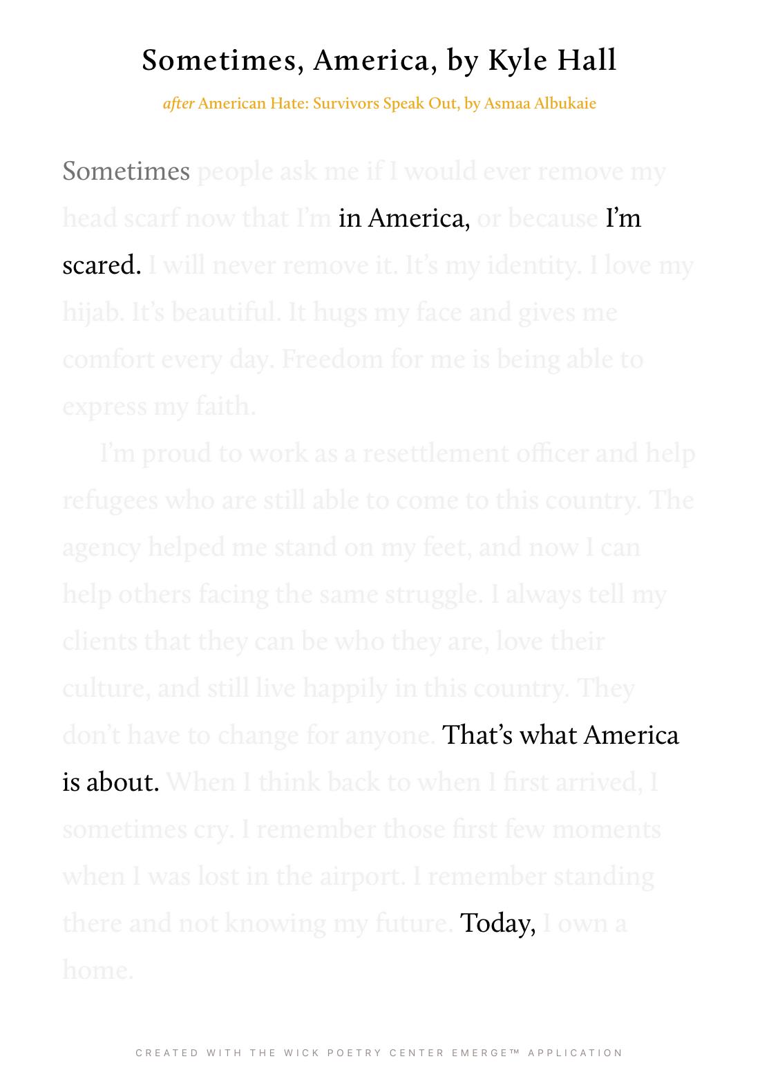 Sometimes, America
