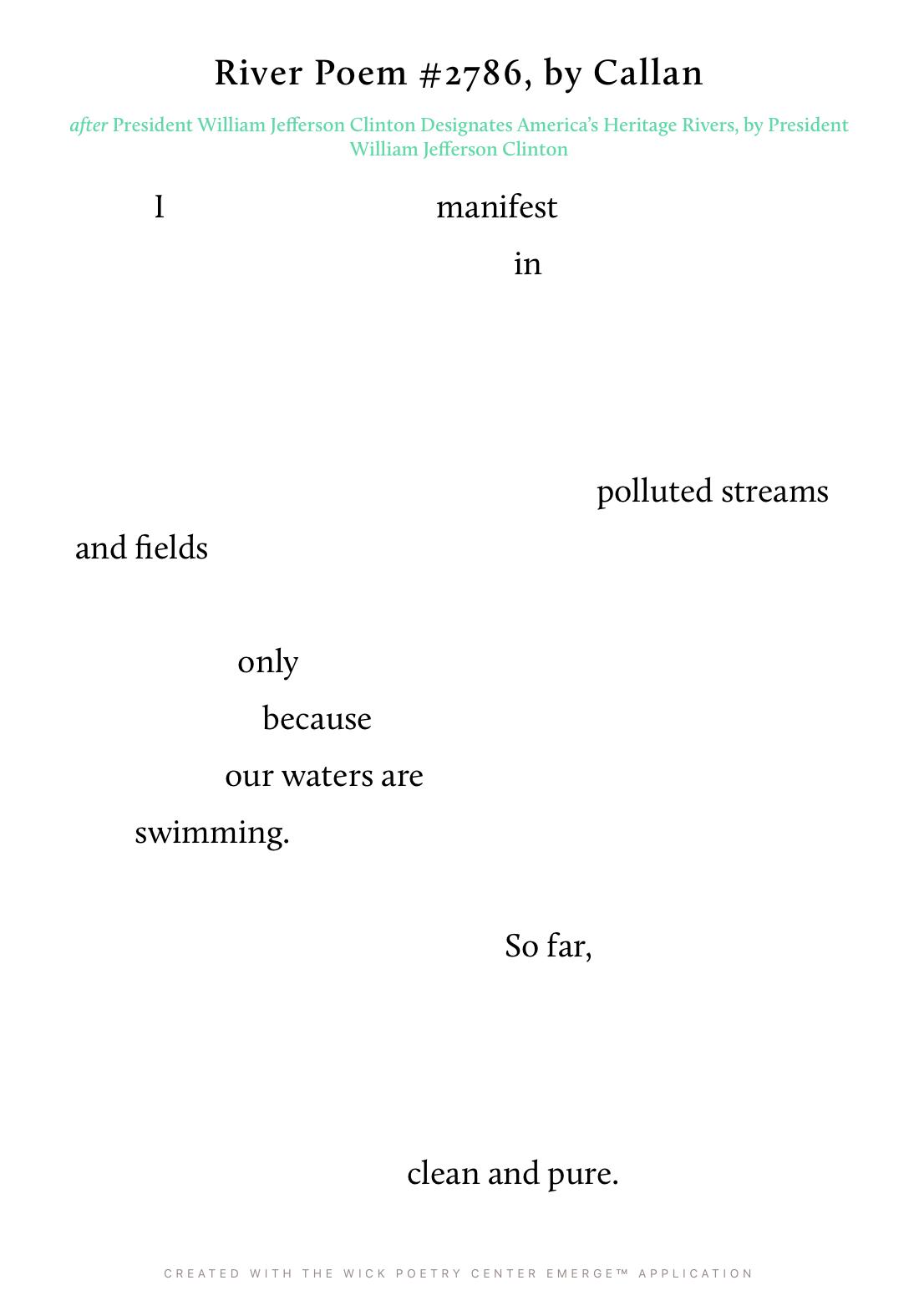 River Poem #2786
