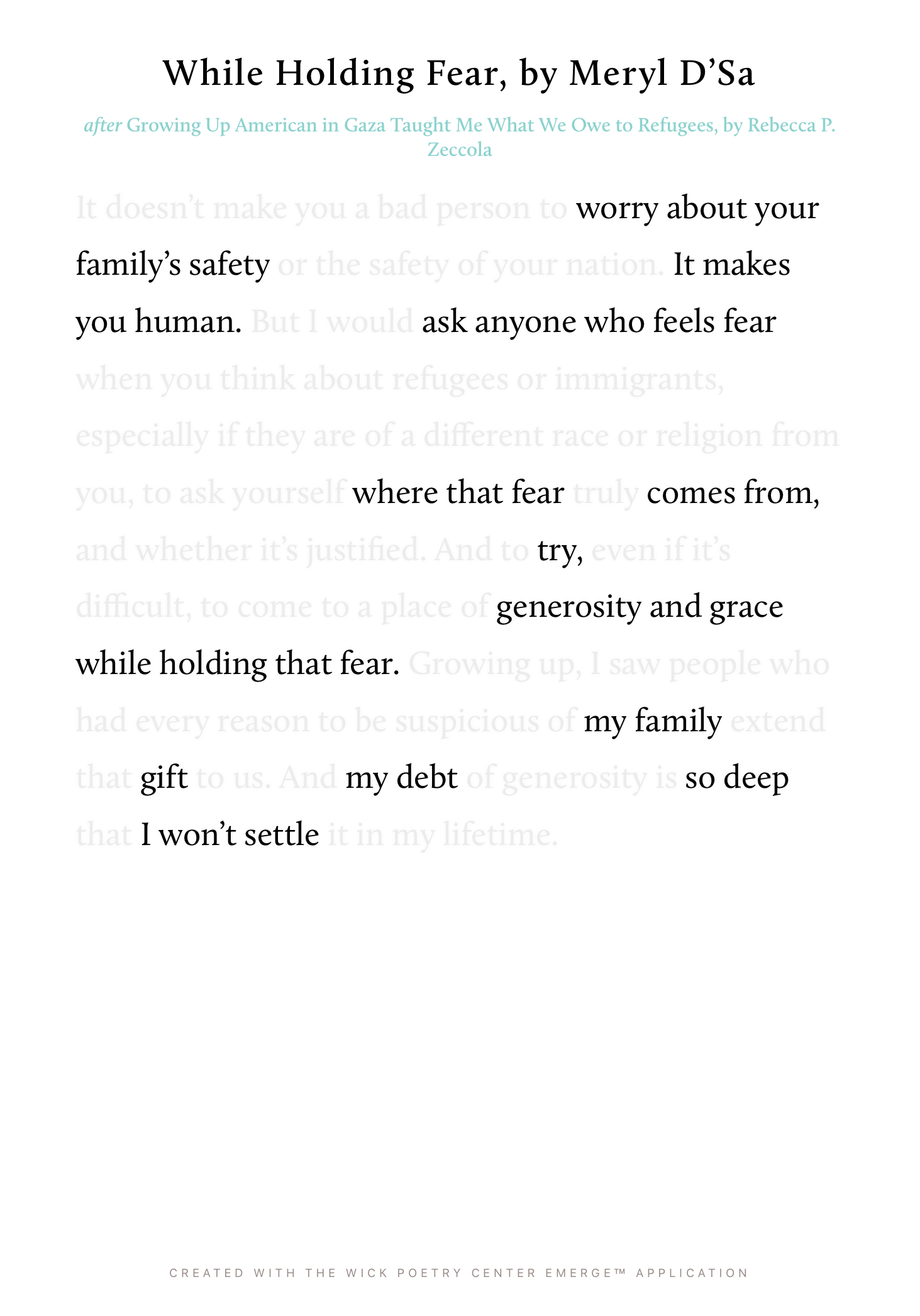 While Holding Fear
